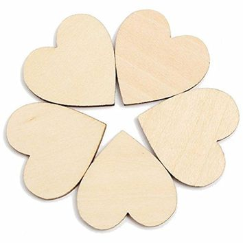 pcs Blank Unfinished Wooden Heart Crafts Supplie