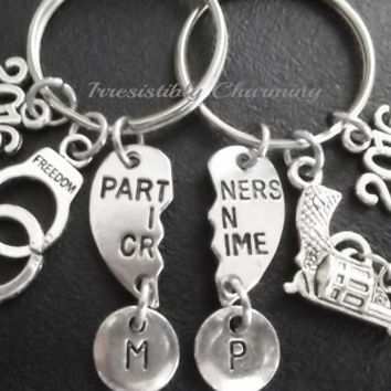 Sale.....Best friends, BFF partners in crime, 2016 (2pcs) keyring, keychain, bag charm, purse charm, monogram personalized item No.672