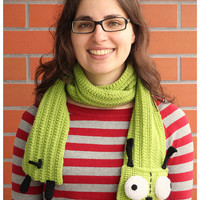 Finished Item: Handmade crochet scarf bright gir Ready to ship
