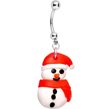Bundled Up Christmas Snowman Dangle Belly Ring