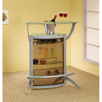 Coaster Furniture 100135 Contemporary Silver Metal Bar Unit with Glass Top