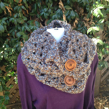 Crocheted infinity scarf with button closure in shades of blue and chocolate  Free Standard Shipping