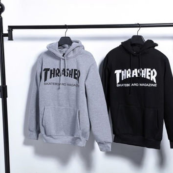 [ Free Shipping ] Thrasher Skateboard Magazine High Quality Couple fashion Hooded Sweatshirt Hoodie Top Shirt Exercise Gym Casual Sportswear _ 9272