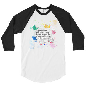 Make Your Own Story Terry Pratchett Quote Men's 3/4 Sleeve Raglan Shirt