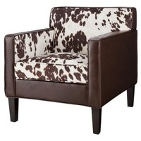 Cooper Upholstered Armchair - Cowhide with Espresso Bonded Leather