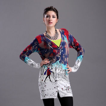 Strong Character Knit Tops Stylish Print Cardigan [9056520646]