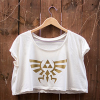 Hyrule Crest Triforce Crop - Inspired by the Legend of Zelda - Available in 3 colors