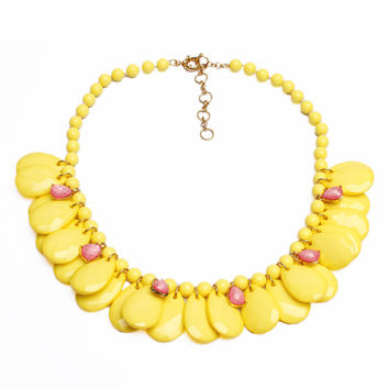 Yellow Teardrop Stone Collar Necklace