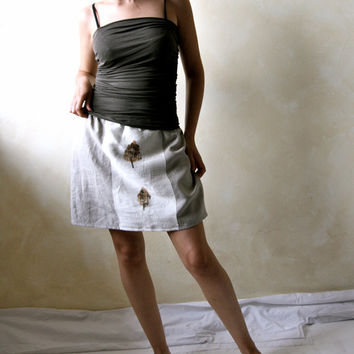 Mini skirt, Linen skirt, eco print clothing, women clothes, boho skirt, aline skirt, tribal clothing, organic clothes, linen apparel, petite