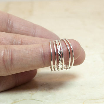 Sterling Silver Flat Rope Stack Ring Set, Rope and Five Tiny Band Set, Stack Rings, Stacking Rings, Stackable Rings, Silver Rings