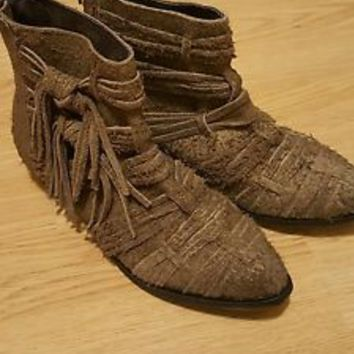 New FREE PEOPLE ANTHROPOLOGIE BROWN DECADES RAW SUEDE ANKLE BOOTS US 6.5 EUR 37