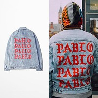 KANYE WEST SEASON 3 oversized PABLO men Jackets broken hole jean coat HIPHOP Motorcycle jacket men Jeans denim jacket