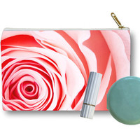 Zippered cosmetic pouch, pink rose, flower print, accessory purse, clutch, make up pouch,  fine art photo, gift under 50, mother's day
