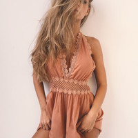 Backless Lace Patchwork Romper