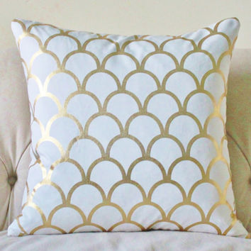 Caitlin Wilson Pillow Cover - Designer Gold Large Scale Scallop - Gold Geometric Pillow Cover - Gold Home Decor- Gold White Pillow