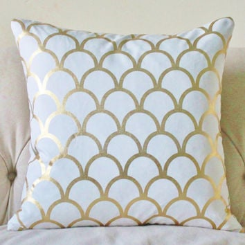 Decorative Pillows White And Gold : Shop White And Gold Decorative Pillows on Wanelo
