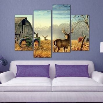 4 Piece Frameless Wonderful Nature Trees Fences Birds Mist Deer Barn Farm Canvas Paintings Wall Art  Wall Decorations for Living