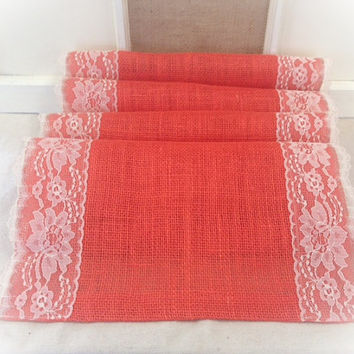 "Burlap & Lace Table Runner  in a deep Coral burlap 12"", 14"", or 15"" wide with White or Ivory Lace"