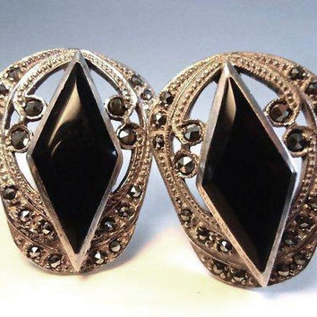 Diamond Shape Onyx Marcasite Earrings Sterling Art Deco Clip Ons, Vintage