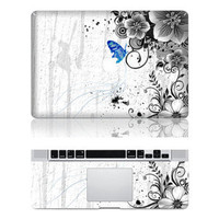 Flowers and Butterfly -- Macbook Protective Decals Stickers Mac Cover Skins Vinyl Case for Apple Laptop Macbook Pro/Macbook Air/iPad