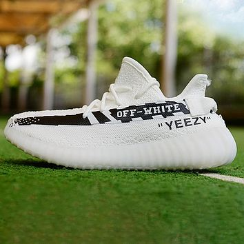 Adidas Yeezy Off White Contrast Shoes Women Men Sneakers White