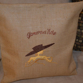 Modern FSU Glamorous Nole Burlap Cushion Cover - Pillow Cover - Florida State University - Seminole - Graduation Gift - FSU Alum