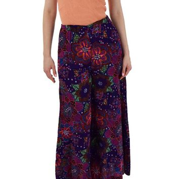 70s Purple Psychedelic Floral Palazzo Pants