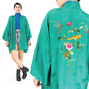 Vintage 70s Chinese Robe Chinese Embroidered Kimono Green Asian Kimono Hippie Bohemian Short Jacket Floral Kimono Birds Asian Robe (L/XL)