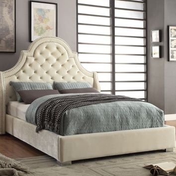 Madison Cream Velvet King Bed