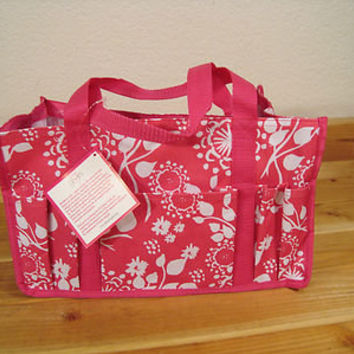 New Thirty One URU 31 Pink Floral Brushstrokes Keep It Caddy Tote Bag