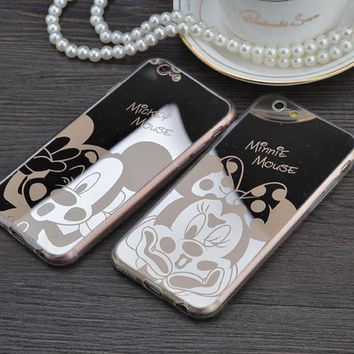 DCCKF4S Mirror case Style Cute Sweet Mickey Minnie Mouse TPU Mobile Phone Cases Cover For iPhone 5 5G 5S SE 6 6G 6S 4.7 6Plus 5.5 Inch