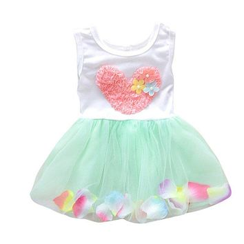 Summer Girls Heart One Piece Dress Flower Princess Tutu Cotton Sleeveless Kids Dress