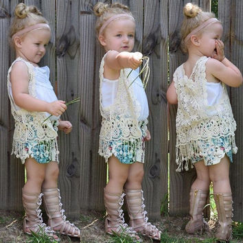 2016 Baby Girls Sleeveless Crochet Lace Cardigan Fashion Kids 1-5 Years Children Spring Summer Clothing