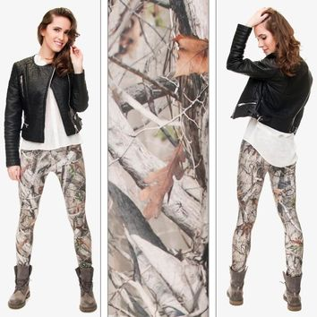 2016 New 3D Printing CAMO TREES Women Leggings Elastic Shiny Sexy Tayt Fitness Leggins Calzas Mujer (Size: One Size, Color: Mult