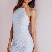 Missguided - Powder Blue Lace Overlay Bodycon Dress Nude