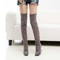 2016 hot sale fashion long boots for women Nubuck Leather sexy Stovepipe boots Over the Knee high heels women boots size 34-43