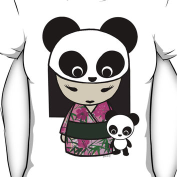 Kokeshi Doll with Panda Women's T-Shirt