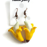 Banana Earrings, Kawaii Fake Food Polymer Clay Jewelry, Handmade, Tropical Realistic Fruit Accessories, Yellow, Cute Kids Jewelry