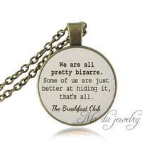 The Breakfast Club Quote Pendant Long Chain 80's Quote Necklace