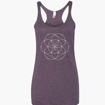 Seed of Life Yoga Shirt - Flower of Life Shirt - Sacred Geometry Mandala Gift Shirt - Yoga Top Yoga Clothes - Yoga Graphic Tee Yoga Apparel