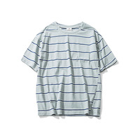 Short Sleeve Summer Stripes Fashion Round-neck Pullover T-shirts [9790789699]