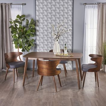 Bonsal Mid Century 5 Piece Wood Dining Set with Charcoal Fabric Chairs