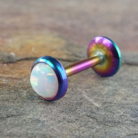 White Fire Opal 16 Gauge Rainbow Cartilage Earring Tragus Monroe Helix Piercing