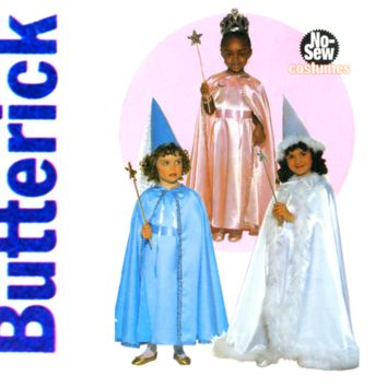 Girls No Sew Princess Costume Pattern UNCUT Butterick 5107 Dress, Cape and Hat for Fairy or Witch