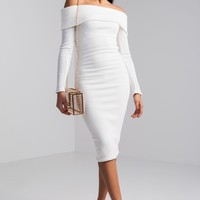 AKIRA Off Shoulder Knitted Bodycon Midi Sweater Dress in White