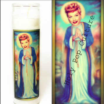 Saint Lucy Prayer Candle - Lucille Ball - I love lucy - Religious Humour - Kitsch - Christmas Gag Gift