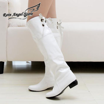 Spring Leather Low-heeled Women Tall Boots Over Knee Back Lacing Candy Color White Red Sexy High Boots Plus Size 40-45