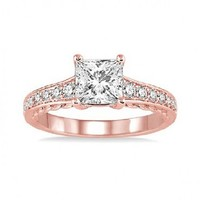 1/4ct tw Diamond Engagement Ring Setting in 14K Rose Gold - Engagement Rings