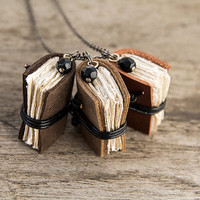 Miniature book necklace, mini book jewelry, tiny book pendant, steampunk journal necklace, leather eco friendly necklace literature brown