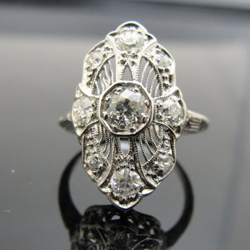 Lacy Filigree Art Deco Filigree Dinner or Cocktail Ring, Platinum, Old Mine Cut Diamonds, RGDIA768D